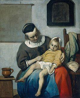 'Het zieke kind' van Gabriel Metsu
